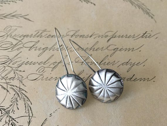 Vintage Button Earrings, Silver Drop Earrings, Pinwheel Earrings