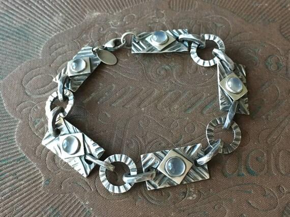 Moonstone Bracelet, Carved Silver Bracelet, Modern Vintage Jewelry, Artisan Bracelet, June Birthstone