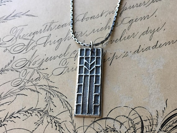 Chevron Pendant, Architectural Jewelry, Arts and Crafts Stained Glass, Simple Necklace