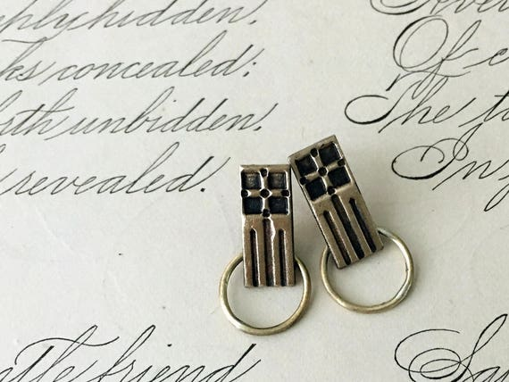 Bronze Earrings, Geometric Jewelry, Gold Art Deco Earrings