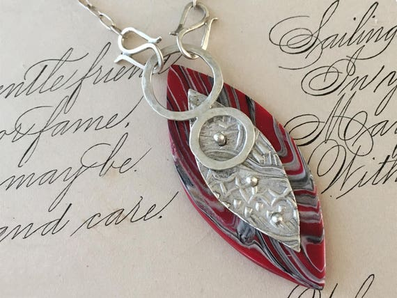 Polymer Clay Pendant, Black and Red Necklace, Riveted Jewelry, Silversmith Necklace