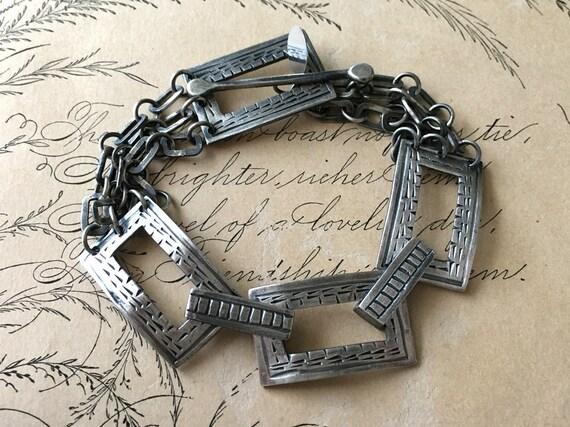 Metalsmith Bracelet, Hammered Chain, Silver Chain Bracelet, Metalsmith Jewelry