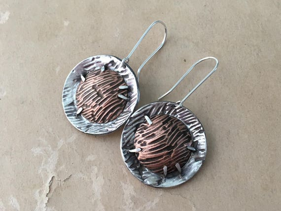 Wabi Sabi Jewelry, Mixed Metal Earrings, Silver and Copper Earrings, Dramatic Earrings