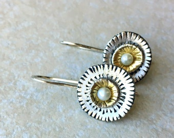 Mixed metal silver and gold drop earrings, cultured pearls