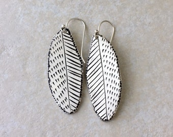 Silver big feather earrings, hand carved artisan jewelry