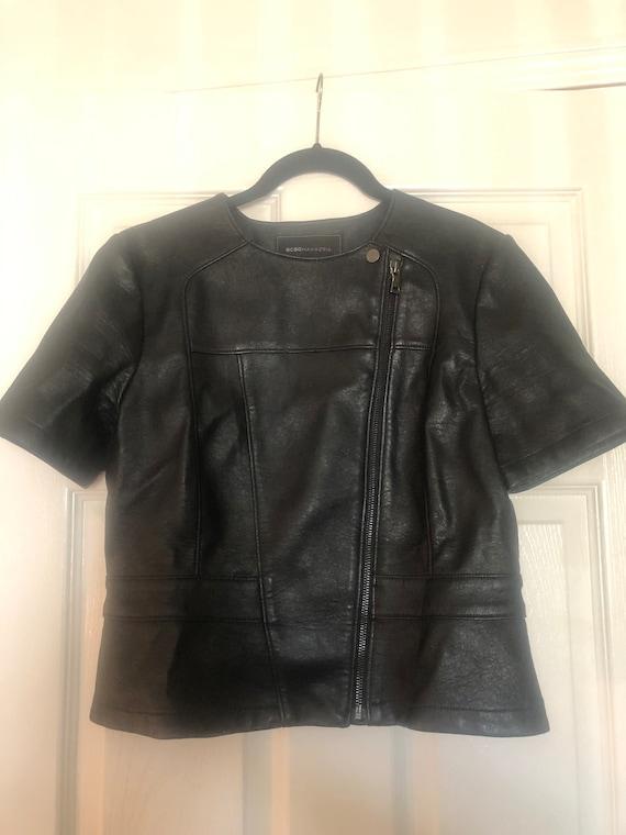 Motorcycle Short Sleeve Vegan Leather Jacket