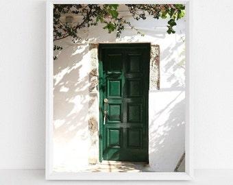 Green Door Photography Print - Corfu Greece Photograph - Emerald Green Wall Art - Mediterranean Decor - Greek Travel Photo - Monastery Print