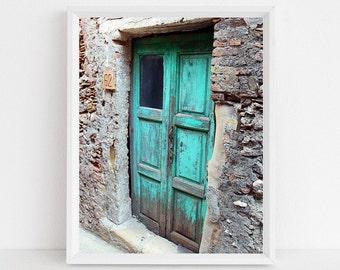 Turquoise Decor - Aqua Door Photograph - Sicily Italy Photo - Old Blue Door Photography - Rustic Stone Wood Natural Farmhouse