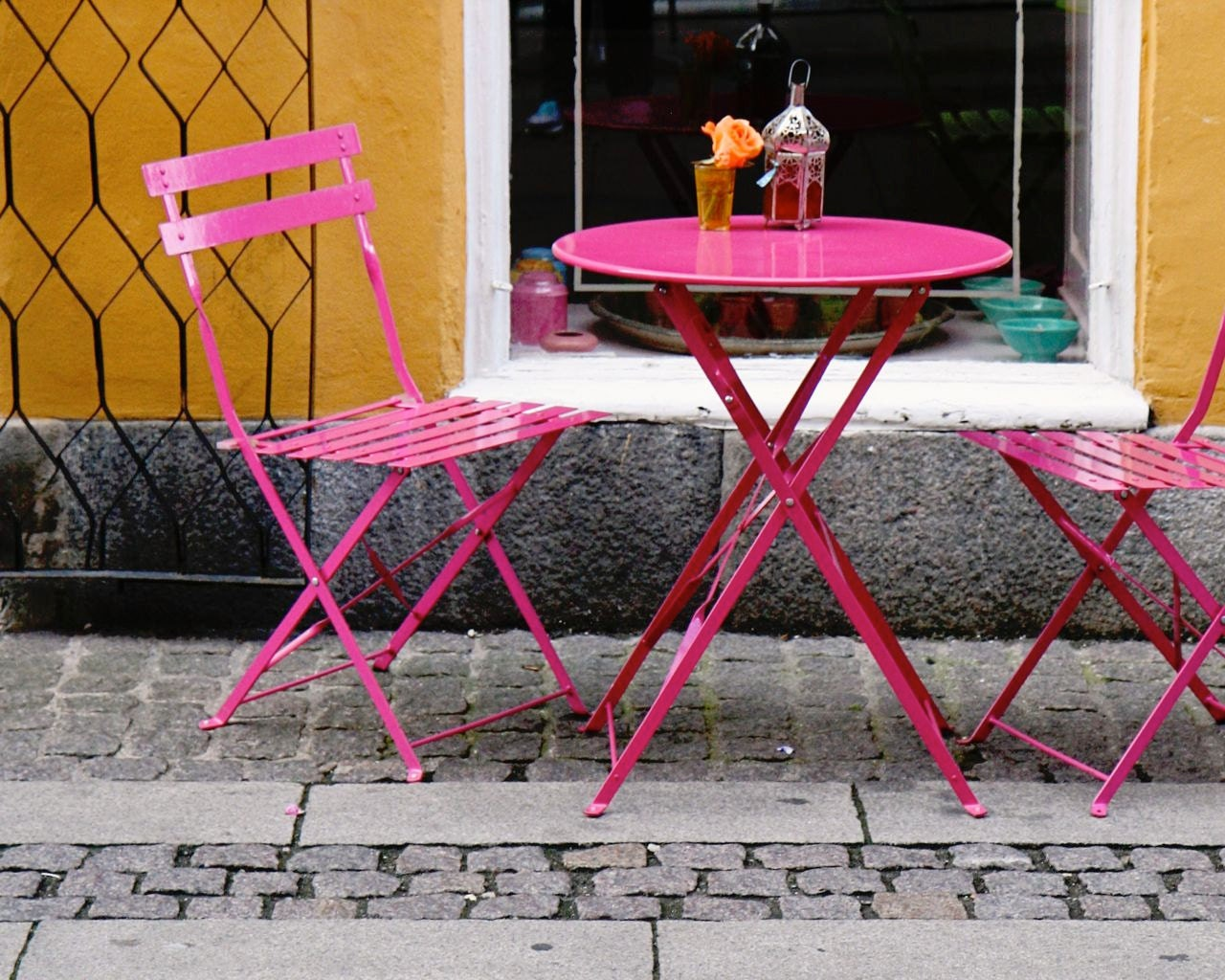 Cafe Print   Copenhagen Photography   Hot Pink And Orange Decor   Denmark  Travel Photo Bistro Table Chairs Photograph   Kitchen Art