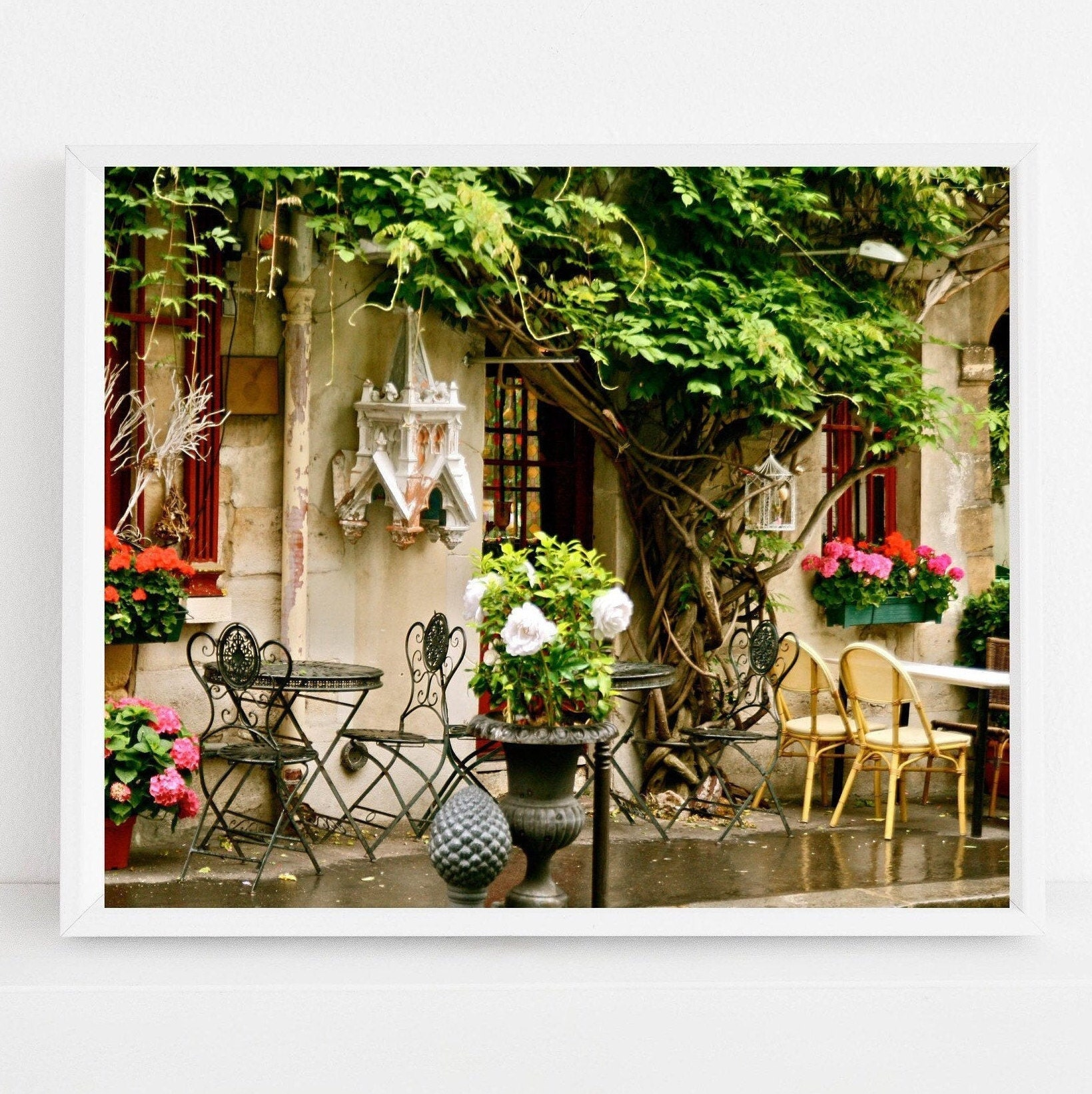 Paris Cafe Photography Print Green And Pink Wall Art Parisian Decor Large Vibrant Colorful Travel Photograph French Kitchen Wall Art