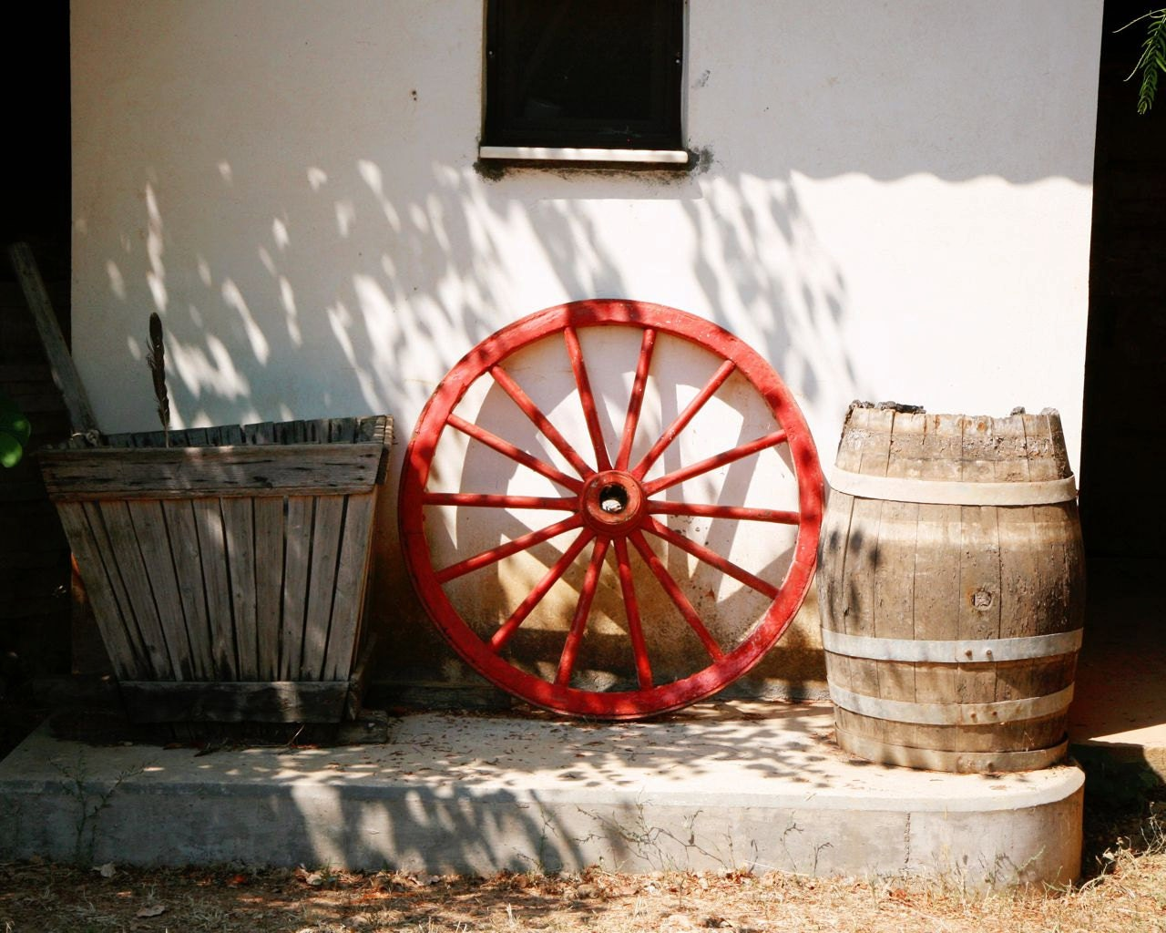 Winery Photography Print Red Wagon Wheel Photograph