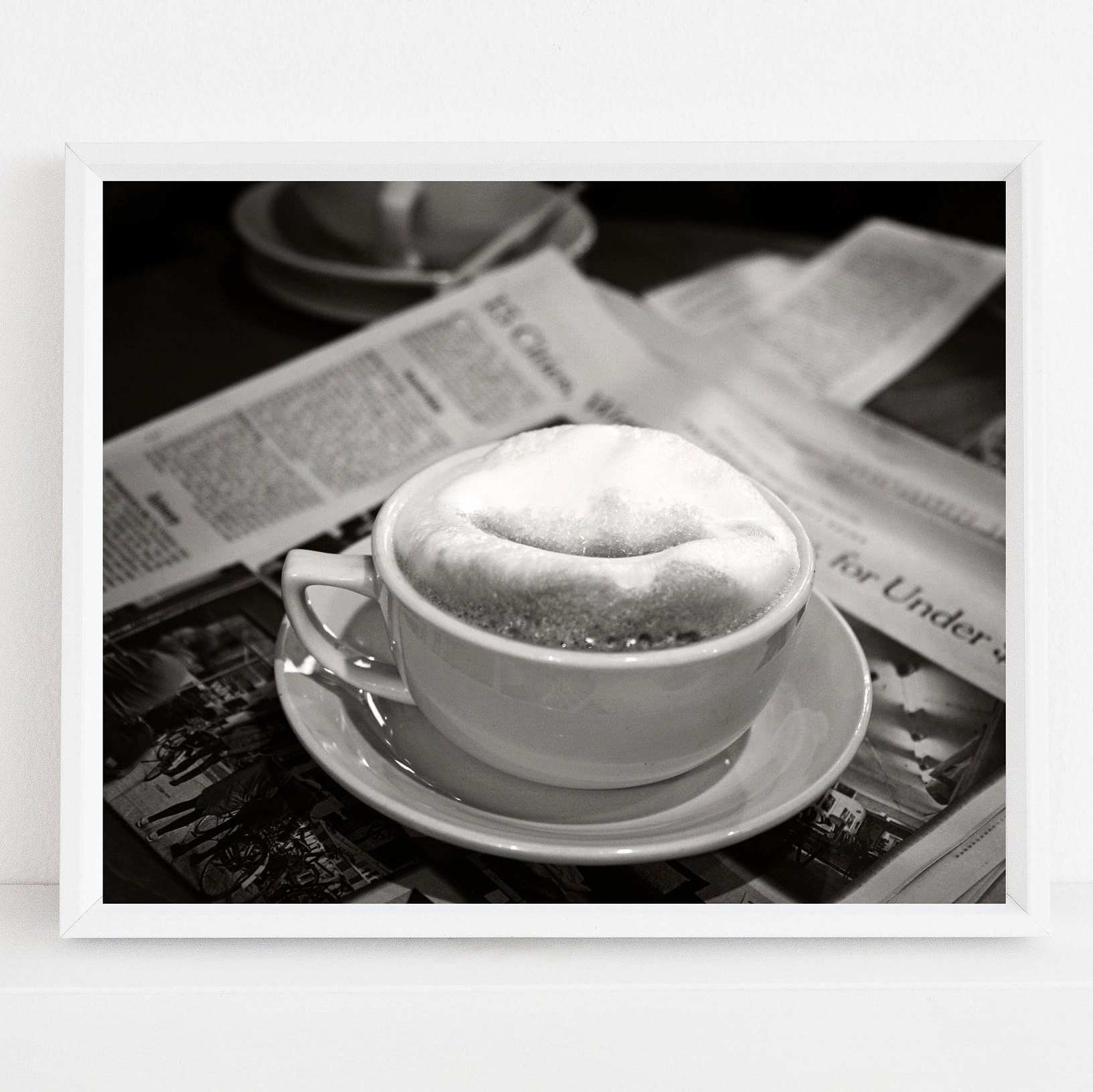 Black And White Coffee Print Food Photography Urban Kitchen Wall Art Cappuccino And New York Times Photograph Hipster Cafe Decor
