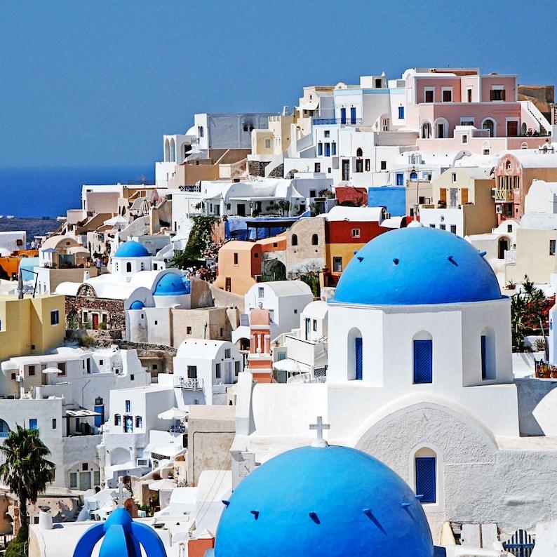 Blue and White Coastal Wall Art Santorini Greece Six Print Set Mediterranean Home Decor Greek Island Photo Collection 6 Photographs