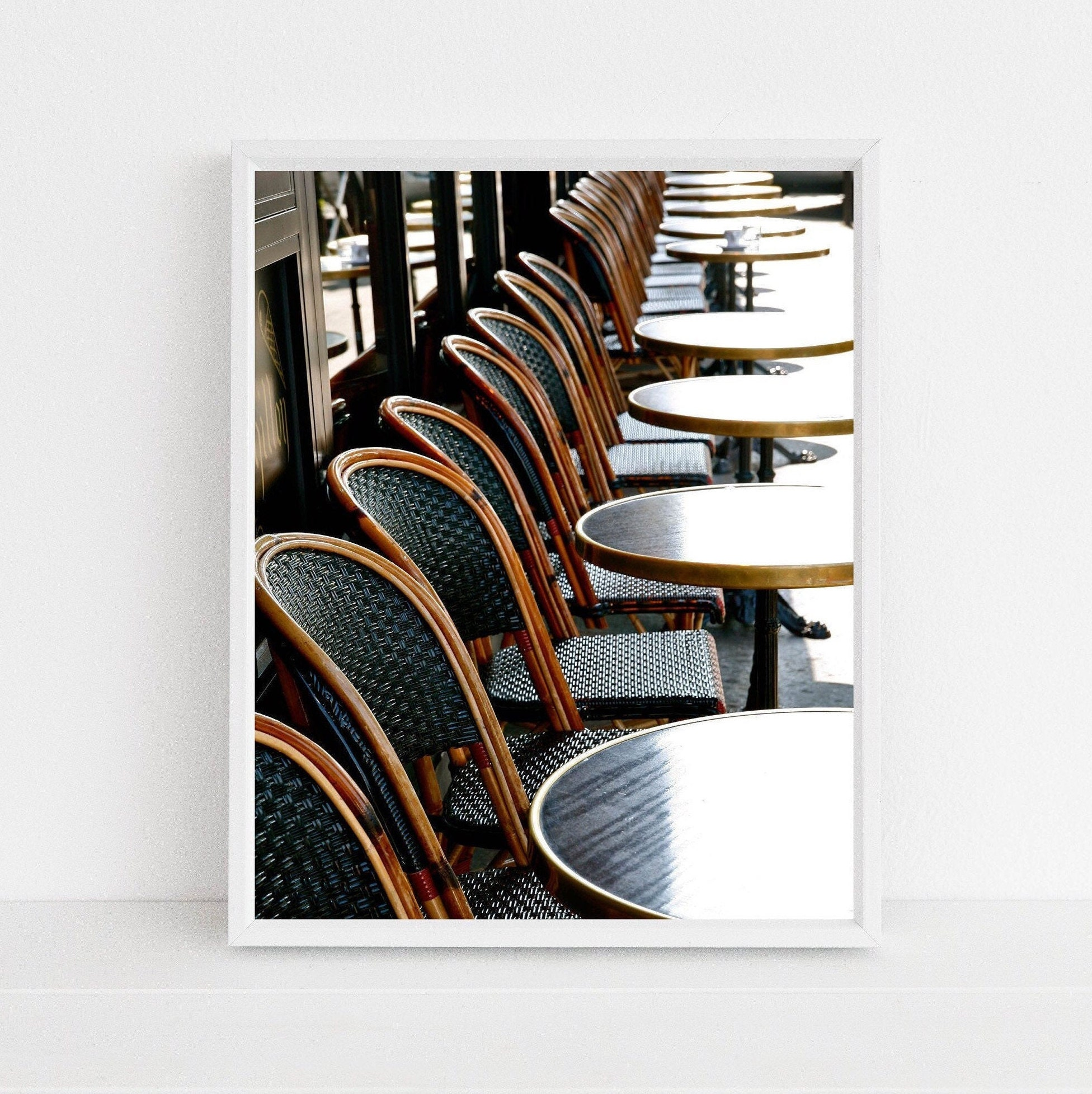 Paris Photography Print French Cafe Photograph Parisian Wall Decor Bistro Picture Dark Green Wall Art French Kitchen Decor
