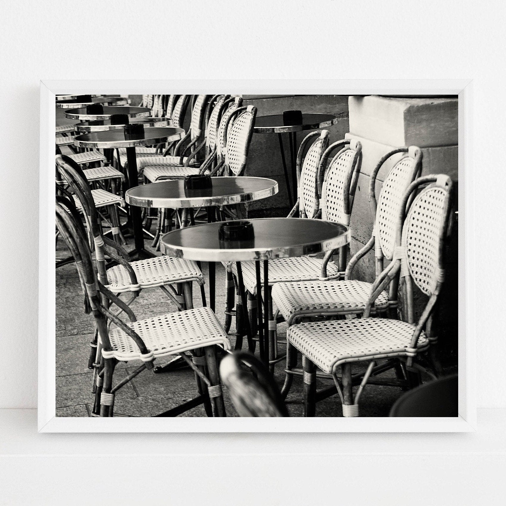 Black And White Paris Cafe Photography Print French Bistro Photograph Parisian Kitchen Wall Art Classic Paris France Travel Photo