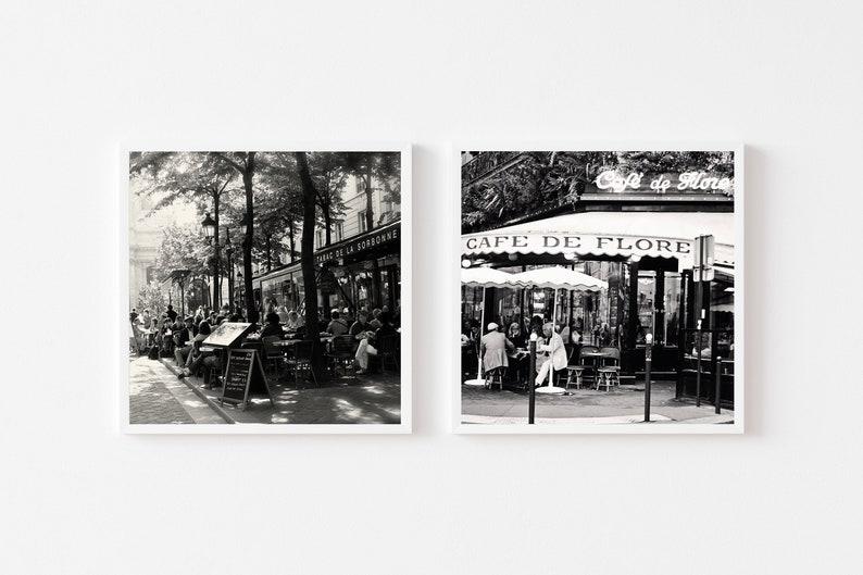 Black and White Paris Travel Photography French Restaurant Photos Set of Two Paris Cafe Square Prints