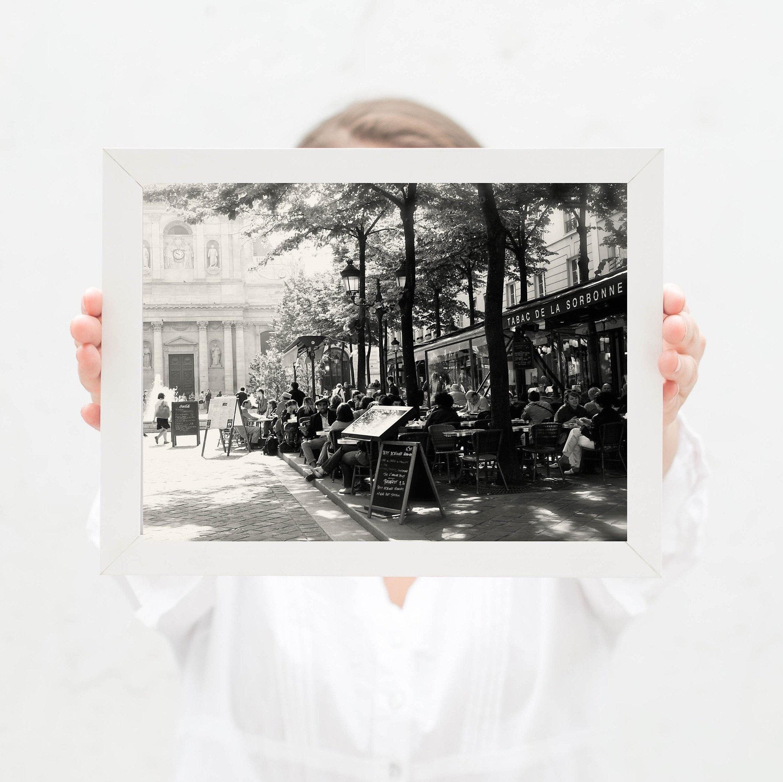 Paris Cafe Photography Print Black And White Tabac De La Sorbonne Photograph French Cafe Decor Parisian Wall Art Bistro Kitchen