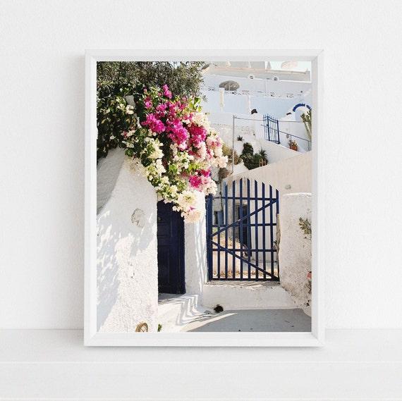 Santorini Greece Photography Print Bougainvillea Photograph Etsy