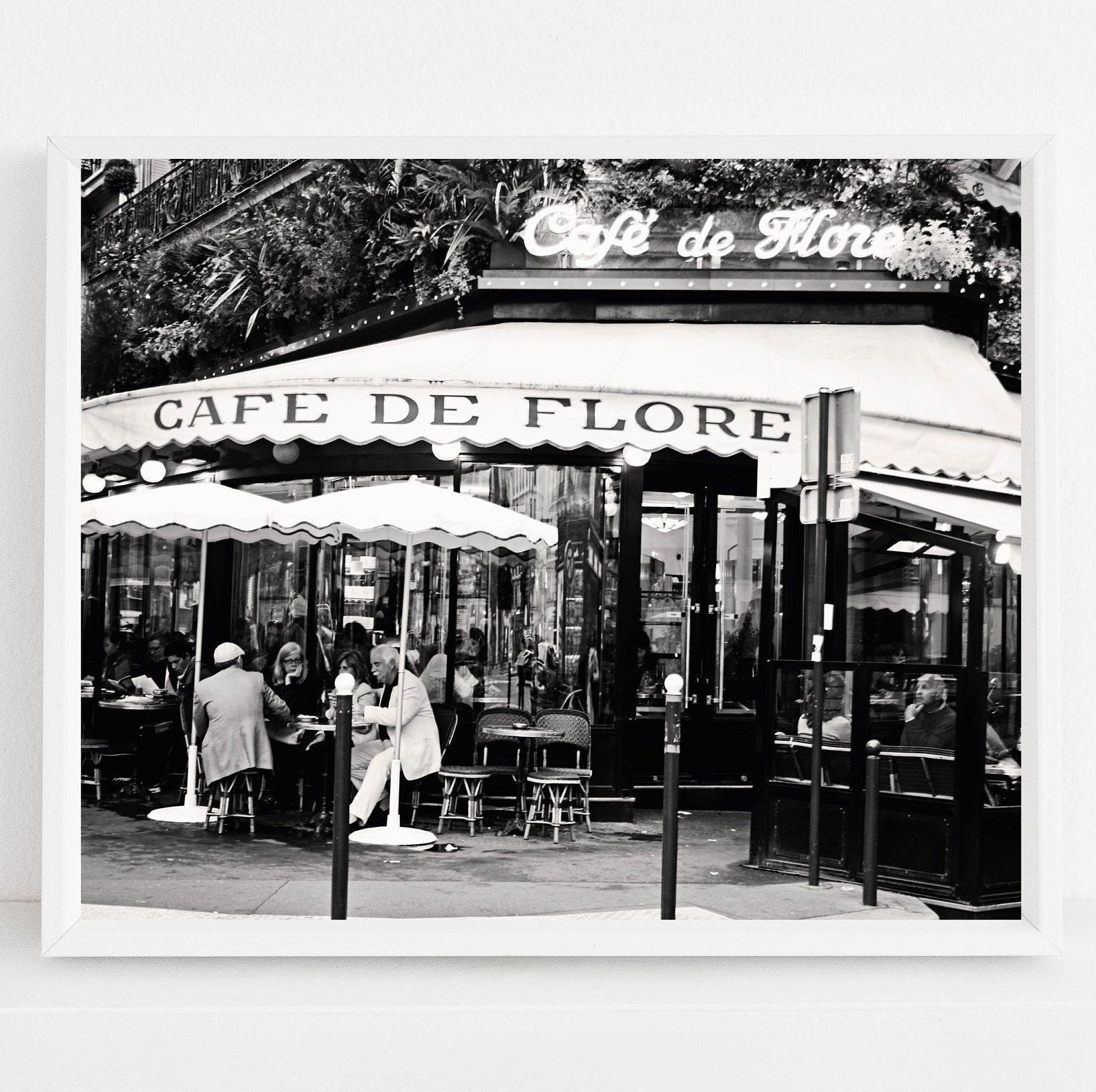 Cafe De Flore Print Paris Cafe Photography Black And White French Photograph Parisian Kitchen Wall Art France Travel Picture