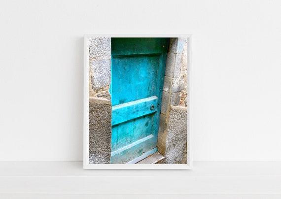 Turquoise Door Photo Tuscany Italy Photography Print Modern Farmhouse Decor Blue Door Photograph Rustic Italian Wall Art