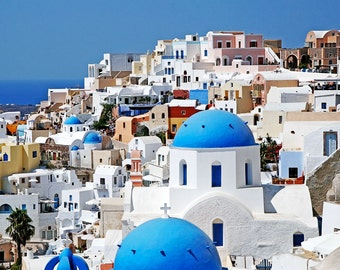 Santorini Greece Photography - Travel Photography - Cobalt Blue Domes White Church Photo Greek Islands Picture Mediterranean Decor Wall Art