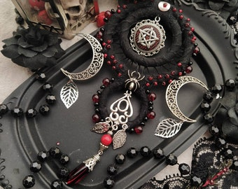 Gothic necklace, gothic jewelry, occult Witchy necklace,  recycled textile  jewelry,  vampire jewelry, sustainable jewelry, Dracula necklace