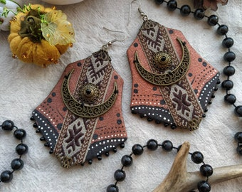 Pagan symbol earrings, witchy  boho earrings, tribal earrings, sustainable earrings, occult fashion, large textile earrings, witchy jewelry