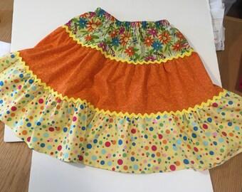 Childs tiered skirt, childs swirly skirt