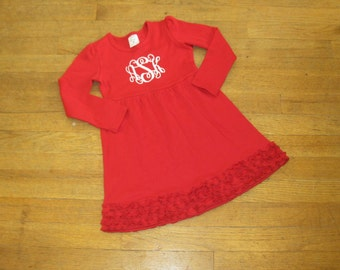 long sleeve ruffle red dress empire waist monogram embroidery custom christmas holiday 12 18 month 2t 3t 4t 5t girls 6 8 10 12 sisters