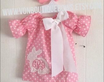 Easter pink white polka dot bunny Dress Newborn 0-3 3-6 6-9 9-12 Month 12  Month 18 Month 2T 3T 4T 5T 6 White Photoshoot personalized fe85fbce874c