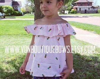 Pink pineapple off the shoulder boho custom top shirt 6 12 18 months 2T 3T 4T 5T 6T 7 8 10 12 14 ruffle