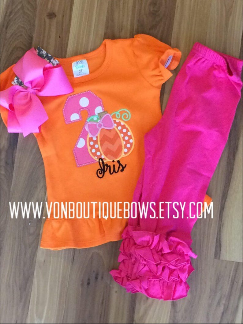 f196d63a8fc6b Pumpkin orange hot pink black bow Personalized Boutique Number Birthday  Boutique First 1st 2T 3 4 5 6 8 set icing leggings top