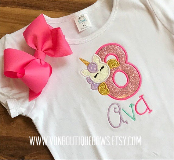 FREE SHIPPING Family Shirts Girls Unicorn Party Birthday Boutique Shirt Pink Jade and Purple with Bow Option Monogrammed Appliqued