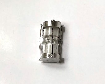 Sterling Silver hourglass charm with real sand inside! Special, unique, rare, silver charm, Vintage charm, unused