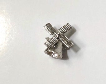 Sterling SILVER Windmill Charm, Movable Charm, vintage pendant, Amsterdam, windmills, unique jewelry, NOS jewelry