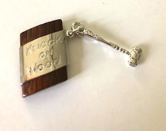 STERLING SILVER Knock on Wood Charm pendant with movable gavel, silver and wood, unique vintage charm, unused, NOS jewelry
