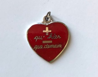 """sterling silver red enamel heart charm pendant, french  saying - says """"more then yesterday, less then tomorrow"""" vintage NOS jewelry unique"""