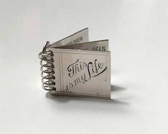 """Sterling Silver """"This is my Life"""" Diary charm pendant spiral bound with movable pages, vintage silver charm, unique charms, NOS jewelry"""