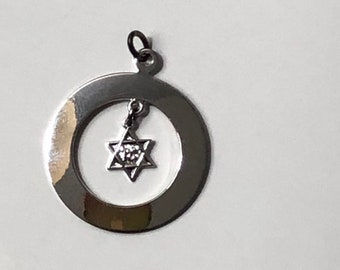 STERLING SILVER Jewish Star charm, Star of David Pendant, Vintage charm, Movable Charm pendant, unique jewelry