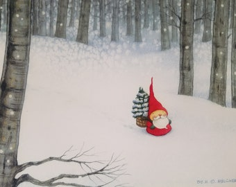 THROUGH SNOWY WOODS Print by Mary Melcher