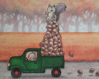 SQUIRREL TRUCK Print by Mary Melcher