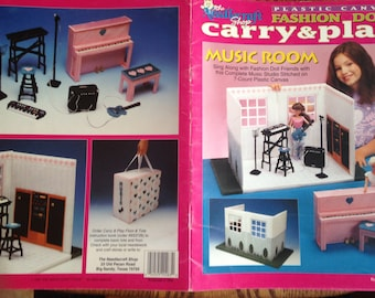 Out of Print 90s Original~Plastic Canvas Patterns~Fashion Doll Carry & Play~Music Room~Barbie Dollhouse~Booklet 943729~Free Shipping