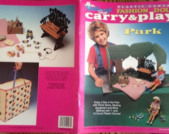 Out of Print 90s Original~Plastic Canvas Patterns~Fashion Doll Carry & Play~Park~Barbie Dollhouse~Booklet 943739~Free Shipping