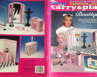 Out of Print 90s Original~Plastic Canvas Patterns~Fashion Doll Carry & Play~Boutique~The Needlecraft Shop~Booklet 933730~Free Shipping