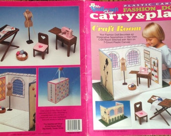 Out of Print 90s Original~Plastic Canvas Patterns~Fashion Doll Carry & Play~Craft Room~Barbie Dollhouse~Booklet 943731~Free Shipping