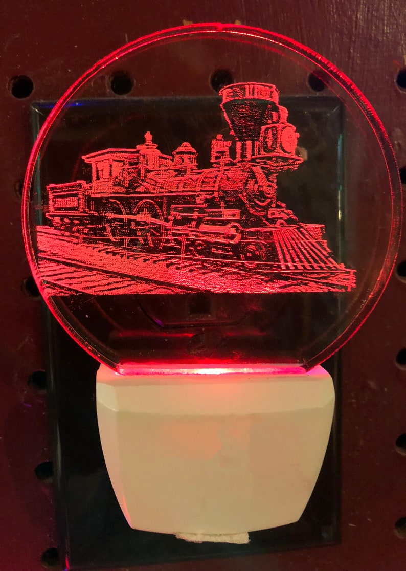 personalized free your choice of light color and rose color steam engine train LED nightlight engraved
