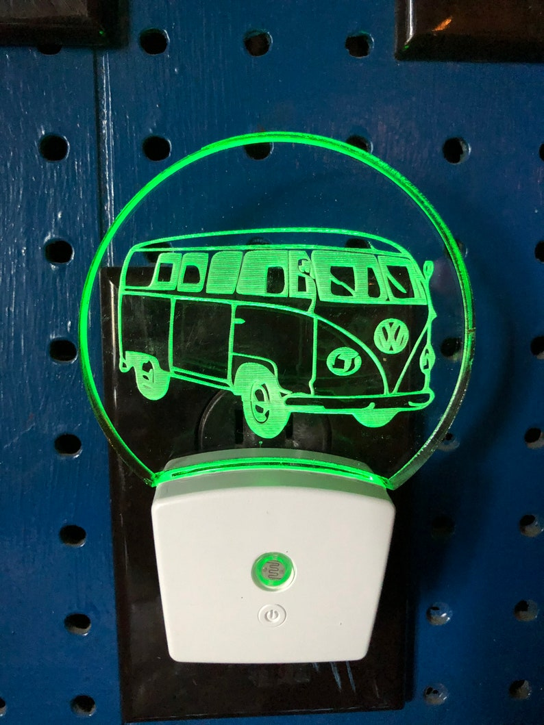 etched VW car lover classic VW engraved personalized car collector gift car light VW bus night light volkswagon light
