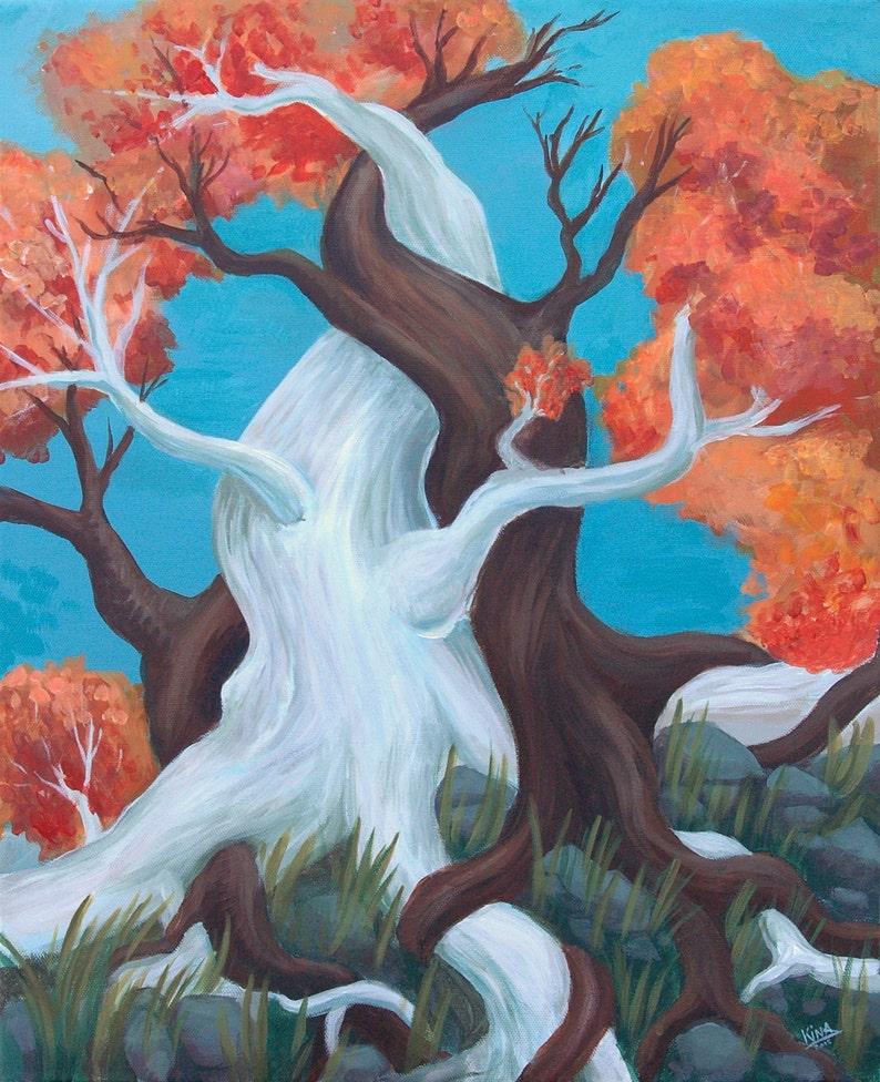 Acrylic Painting Twisted Trees Art Print image 0