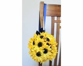 Sunflower Kissing Balls, Set of 2, Yellow Sunflower Flower Balls, Flower Girl Bouquets, Sunflower Pew Decorations