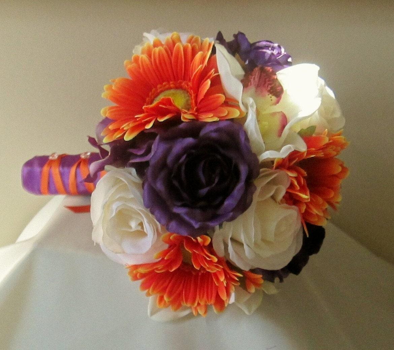 Fall Wedding Flowers List: Purple And Orange Bridal Bouquet Rose And Gerbera Daisy